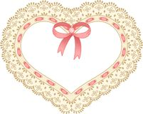 Heart embroidered on tape lace Stock Image