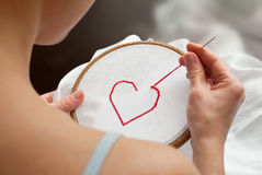 Heart embroidery Royalty Free Stock Photography