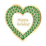 Heart of emeralds in a gold frame vector card Royalty Free Stock Photos