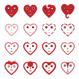 Heart emoticon face icons set stock illustration