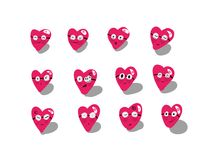 Heart emoticon style. For you stock illustration
