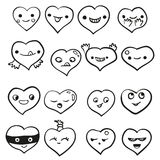 Heart emotions set. Vector background. Heart emotions set. Vector illustration hand drawn background Royalty Free Stock Photos