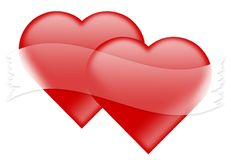 Heart with empthy ribbon. Valantine day two heart with empthy ribbon Stock Photo