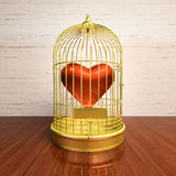The heart enclosed in a golden cage. Heart inside the bird Cage. Love/romance concept stock illustration