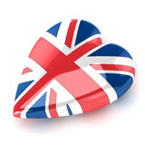 Heart England. A Colourful 3d Rendered Union Jack Heart Illustration Stock Photo