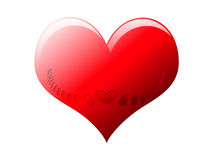 Heart with Engraved slots. A basic red heart with engraved slots signifies a love one or heart aches Stock Photos