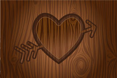 Heart engraved in tree vector. Heart with arrow engraved in bark tree Royalty Free Stock Photo