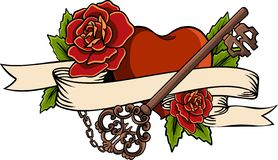 Heart entwined in climbing rose tattoo. Heart entwined in ribbon. Tattoo heart with ribbon and roses. Old school styled royalty free illustration