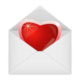 Heart in the envelope Stock Photography
