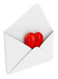 Heart in envelope. Red heart sign in the envelope isolated on white royalty free illustration