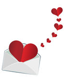 The heart in the envelope Stock Photos