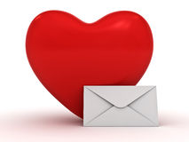 Heart and envelope over white Stock Photos