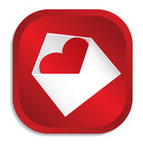 Heart at envelope red icon Stock Photography