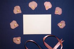 Heart envelope with seashells and pearls stock photo