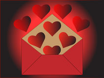 Heart in the envelope Stock Images