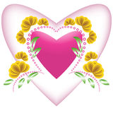 Heart in an environment of a vegetative ornament Royalty Free Stock Photos