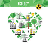 Heart with environmental icons in green . Vector file available. Stock Photo