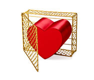 Heart Escaping Guilded Cage. A red heart shape grows and busts out of the gold guilded cage to escape, which could represent releasing feelings, feeling loved Stock Images