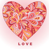 Heart Ethnic Doodle. Love. Stock Image