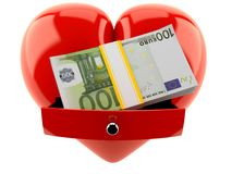 Heart with euro currency Royalty Free Stock Photos