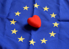 Heart with Europe flag texture  on a blue background. on Nov 1, 2014 Stock Photography
