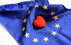 Heart with Europe flag texture isolated on a white background. on Nov 1, 2014 Stock Photo