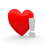Heart. With  a exclamation mark Royalty Free Stock Photo