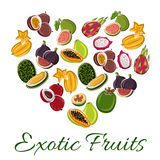 Heart with exotic fruit poster Royalty Free Stock Photography