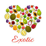 Heart of exotic fruits poster for food design Royalty Free Stock Photography