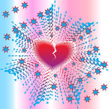 Heart Explosion. Explosion of loving heart with stars on abstract background, Vector Illustration stock illustration
