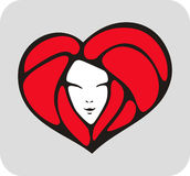 Heart-face. Red heart with face of beauty girl Royalty Free Stock Images