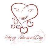 Heart-face the drawn lines. For Valentines design vector illustration