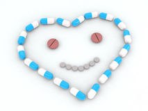 Heart and face made with pills Royalty Free Stock Images