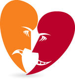Heart face mask logo. Illustration art of a heart face mask logo with  background Stock Images