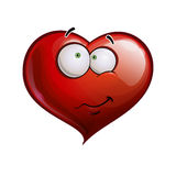 Heart Faces Happy Emoticons - Wandering. Cartoon Illustration of a Heart Face Emoticon embarrassed Royalty Free Stock Photo