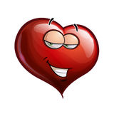 Heart Faces - Hey Sweetie. Cartoon Illustration of a Heart Face Emoticon Flirting Stock Photo