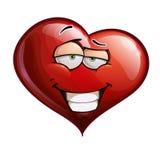 Heart Faces - Smug. Cartoon Illustration of a smug Heart Face Emoticon Royalty Free Stock Photography
