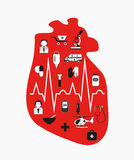 Heart failure. Anatomical red heart. Stock Image