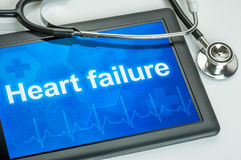 Heart failure on the display. Tablet with the text Heart failure on the display stock photos