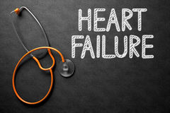 Heart Failure Handwritten on Chalkboard. 3D Illustration. Medical Concept: Heart Failure Handwritten on Black Chalkboard. Top View of Orange Stethoscope on Stock Photos