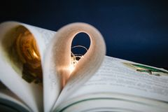 Heart from the fairy-tale pages of the book. In daylight Royalty Free Stock Photo