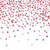 Heart fall vector background. Love and valentine day or wedding horizontal pattern with falling hearts Stock Images