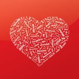 Heart from famous woman's names. Valentines day. () royalty free stock photo