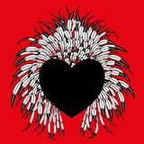 Heart with feathers. Heart with feathers on a red background Stock Photos