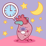 Heart feel tired with overwork. Cartoon heart sick and feel tired because overwork Royalty Free Stock Photography