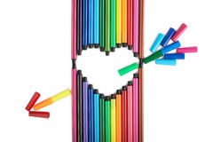 Heart of felt tip pens. On a white background Royalty Free Stock Photo