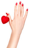 Heart on a female hand. Royalty Free Stock Photo