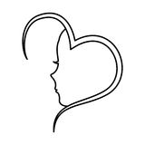 Heart with female profile icon Stock Images