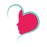 Heart with female profile icon Royalty Free Stock Image