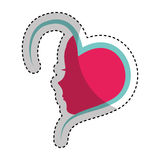 Heart with female profile icon Royalty Free Stock Images
